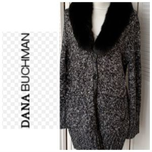Dana Buchman sweater with faux fur collar